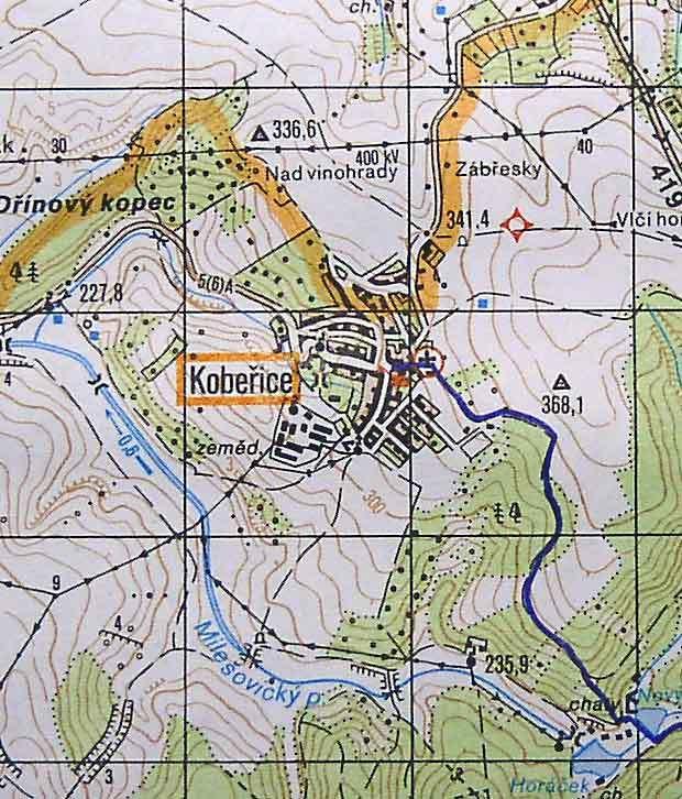 Mapka katastru Kobeřic u Brna