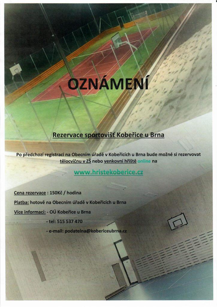 Snímek oznámení o rezervaci sportovišť Kobeřice u Brna